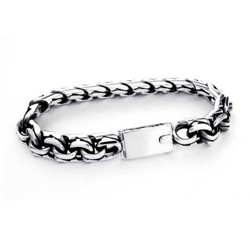 Мужской платиновый браслет плетения «Бисмарк»