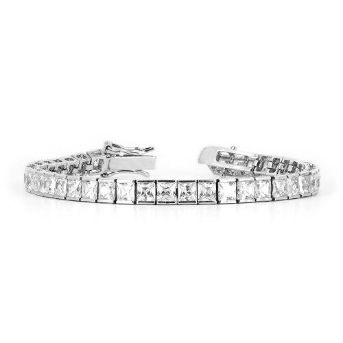 Тонкий браслет из белого золота с бриллиантами