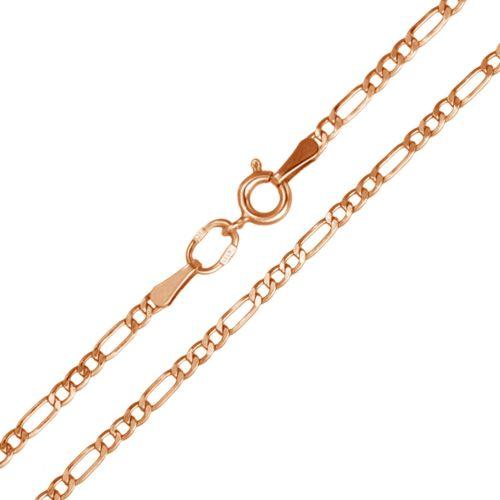 Цепочка плетения «Фигаро 3+1» красное золото с замком шпрингель