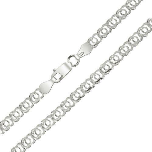 Женская цепочка плетения «Арабский Бисмарк» из белого золота