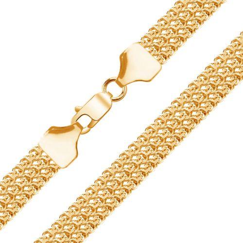 Мужская цепочка плетения «Бисмарк Тройной» из желтого золота