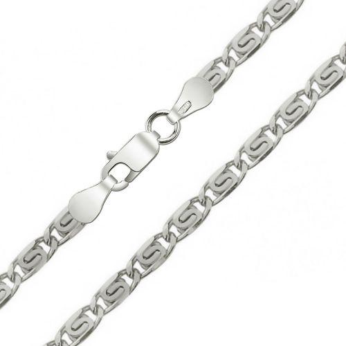 Мужская цепочка плетения «Улитка (Скрепка)» из белого золота