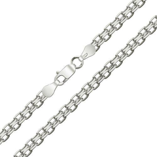 Женская цепочка плетения «Якорное Двойное» из белого золота