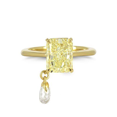 Кольцо с желтым бриллиантом и подвижным элементом