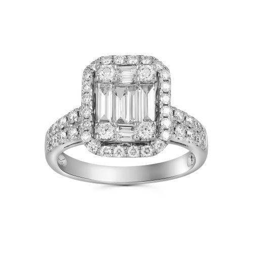 Кольцо с бриллиантами багет и круг на заказ