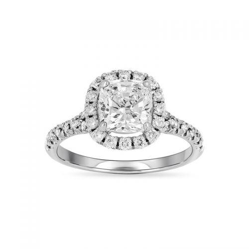 кольцо из белого золота с крупным кушоном