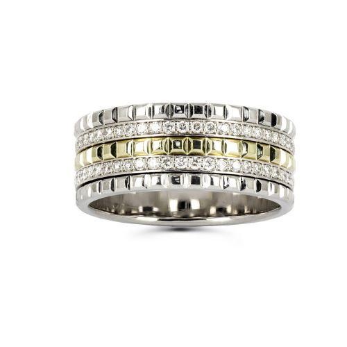 Кольцо из комбинированного золота с бриллиантовой дорожкой
