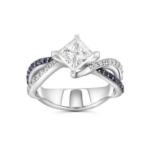 Помолвочное кольцо из белого золота с бриллиантом «Принцесса» и сапфирами