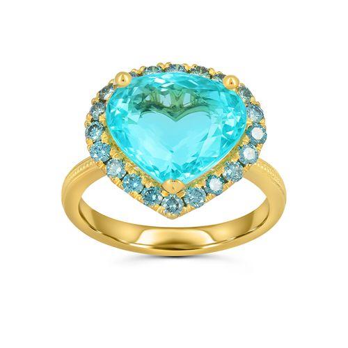 Женский перстень из желтого золота с турмалином параиба