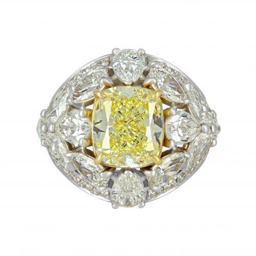 Дизайнерское золотое кольцо с желтым бриллиантом