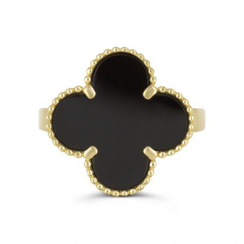 """Кольцо""""Alhambra"""" с ониксом ижелтым золотом 750 пробы"""