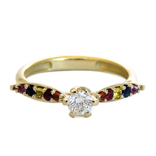 Кольцо из желтого золота с бриллиантом и цветными сапфирами
