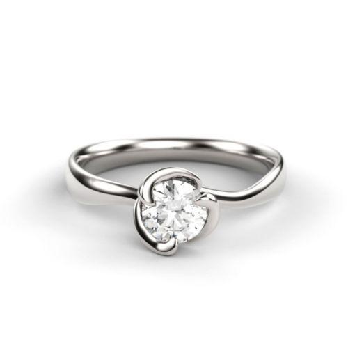 Помолвочное кольцо из платины с бриллиантом изогнутой формы