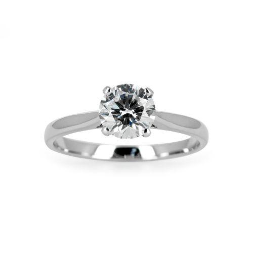 Помолвочное кольцо из белого золота с бриллиантом 0,4 карата