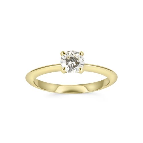 Тонкое помолвочное кольцо из желтого золота с бриллиантом