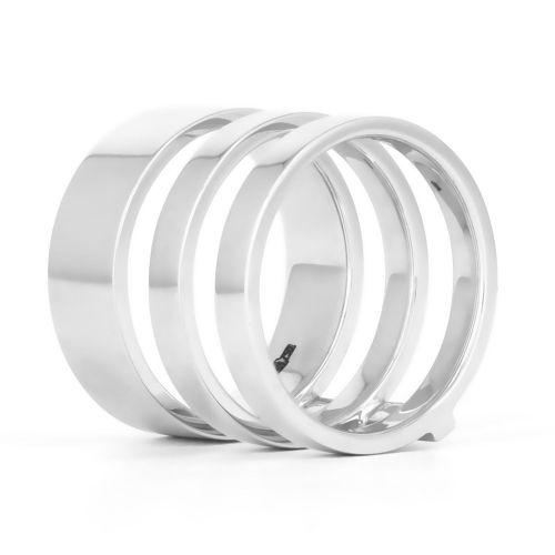 Эксклюзивное тройное кольцо из белого золота