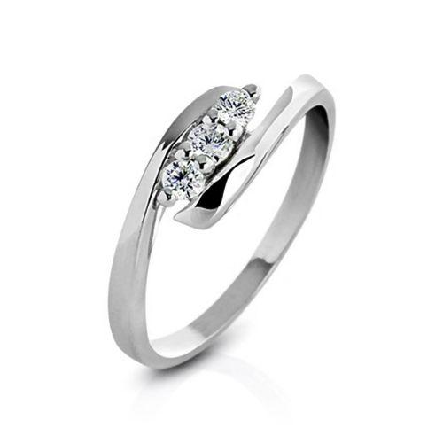 Кольцо из серебра с бриллиантами с разомкнутым ободком К-12
