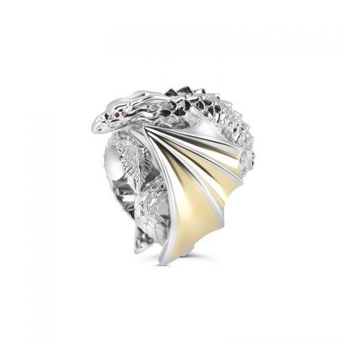 Мужской перстень в форме дракона из комбинированного золота