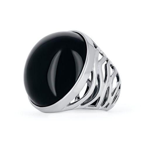 Перстень с ониксом огранки кабошон