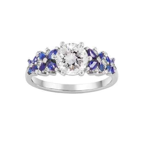 Платиновое женское кольцо с сапфирами и бриллиантами