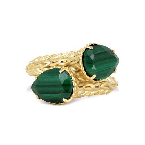 Фактурное кольцо с малахитом