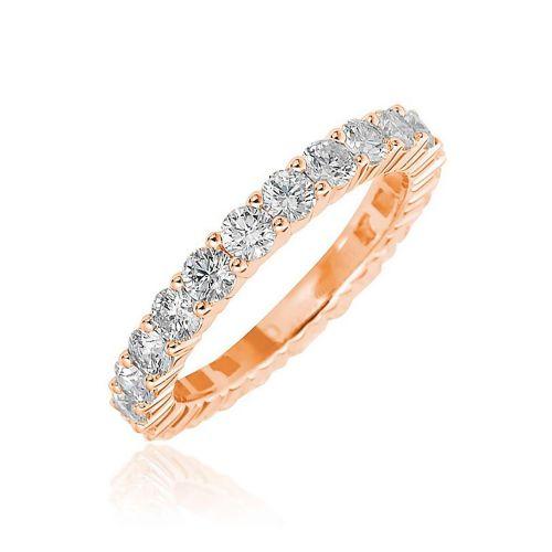 Кольцо из красного золота с бриллиантами по кругу К-27