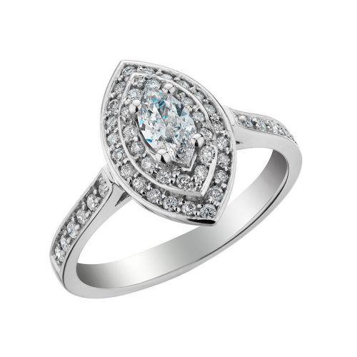 Кольцо из белого золота с множеством бриллиантов L-20