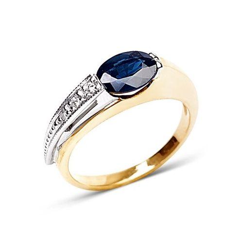 Золотое кольцо с насыщенным синим сапфиром и бриллиантами К-50