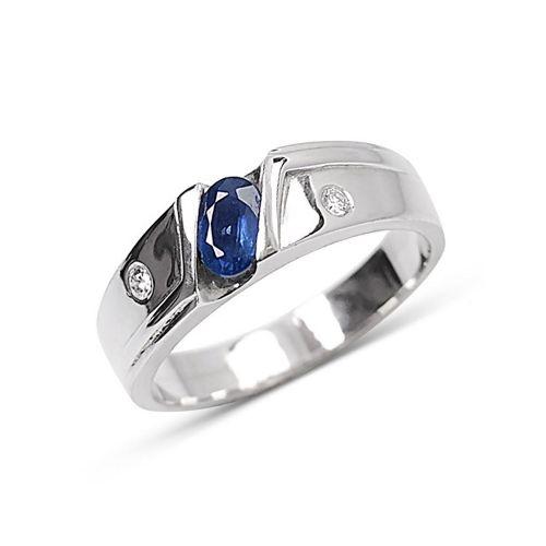 Кольцо из белого золота с синим сапфиром и 2-мя бриллиантами К-37
