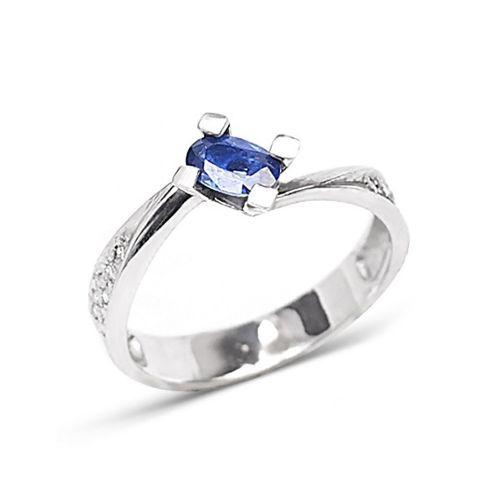 Золотое кольцо с сапфиром и бриллиантами Р-13