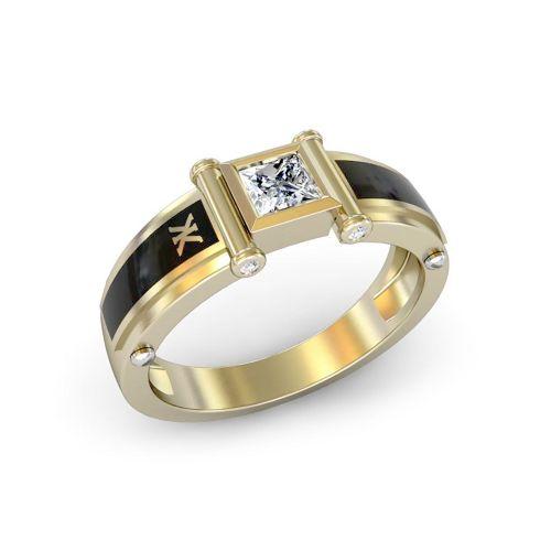 Золотое кольцо с квадратным бриллиантом по центру с черной эмалью