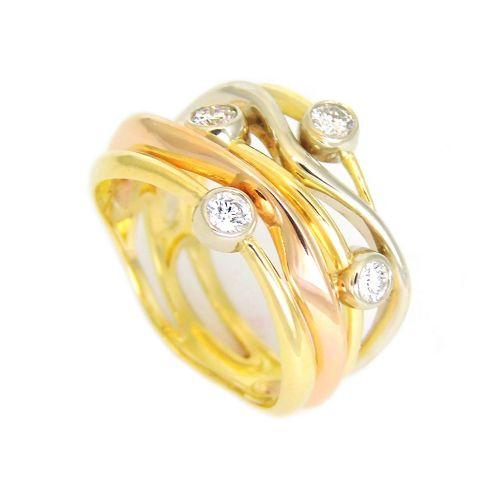Золотое кольцо в виде переплетающихся нитей с 4-мя бриллиантами
