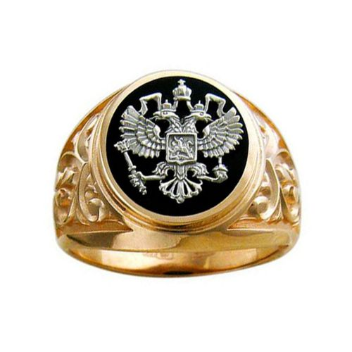 Печатка из комбинированного золота «Герб России»