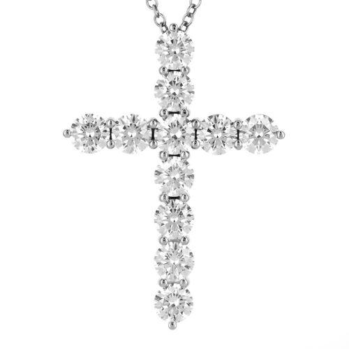 Крестик из белого золота с дорожкой из бриллиантов