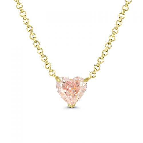Кулон из белого золота с розовым бриллиантом огранки «Сердце»