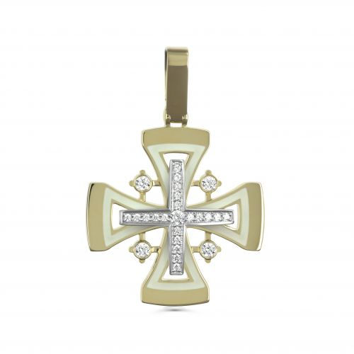 Православный крест с эмалью и бриллиантами
