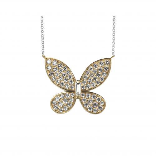 Подвеска «Бабочка» с бриллиантовым меле
