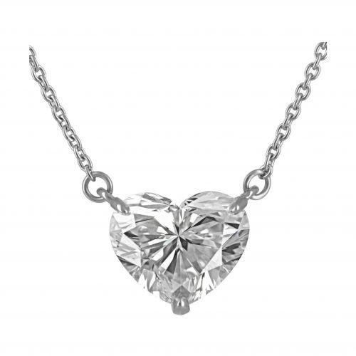 Подвеска из белого золота с бриллиантом огранки «Сердце» на заказ