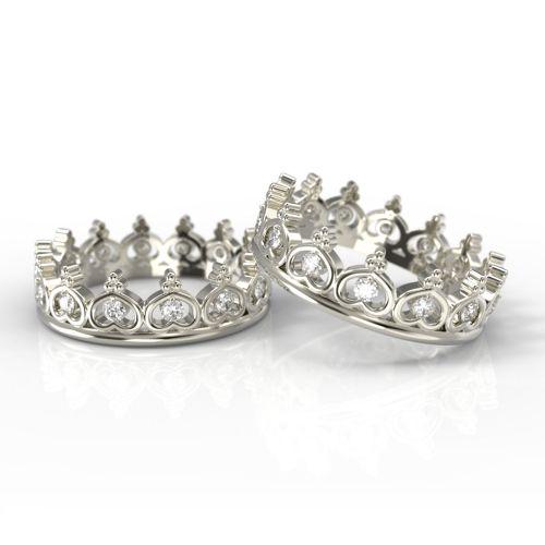 Парные обручальные кольца-короны из красного золота с бриллиантами