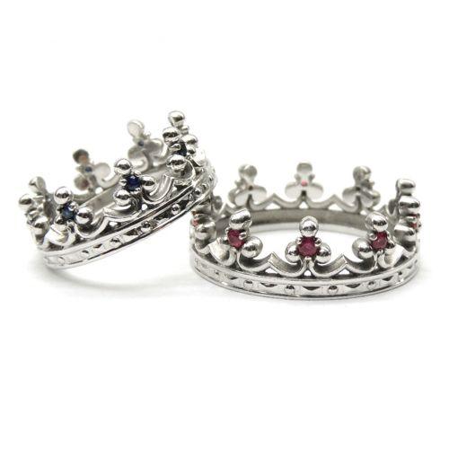 Обручальные «Короны» из серебра с сапфирами и рубинами