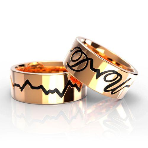 Обручальные кольца «Кардиограмма» из желтого золота