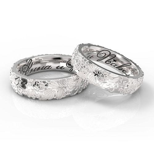 Ажурные обручальные кольца с гравировкой имен из красного золота