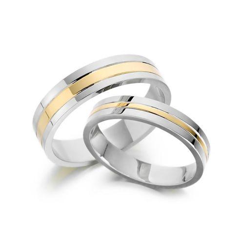 Гладкие обручальные кольца из комбинированного золота