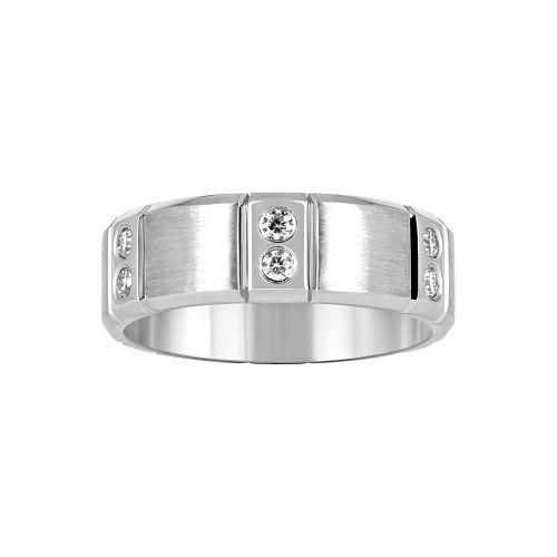 Матовое мужское обручальное кольцо с бриллиантами