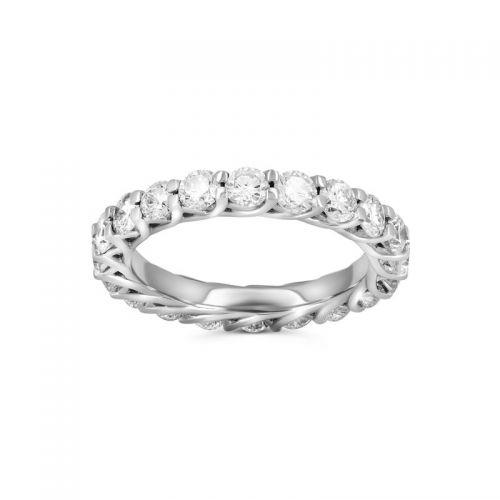 Кольцо дорожка из белого золота с бриллиантами