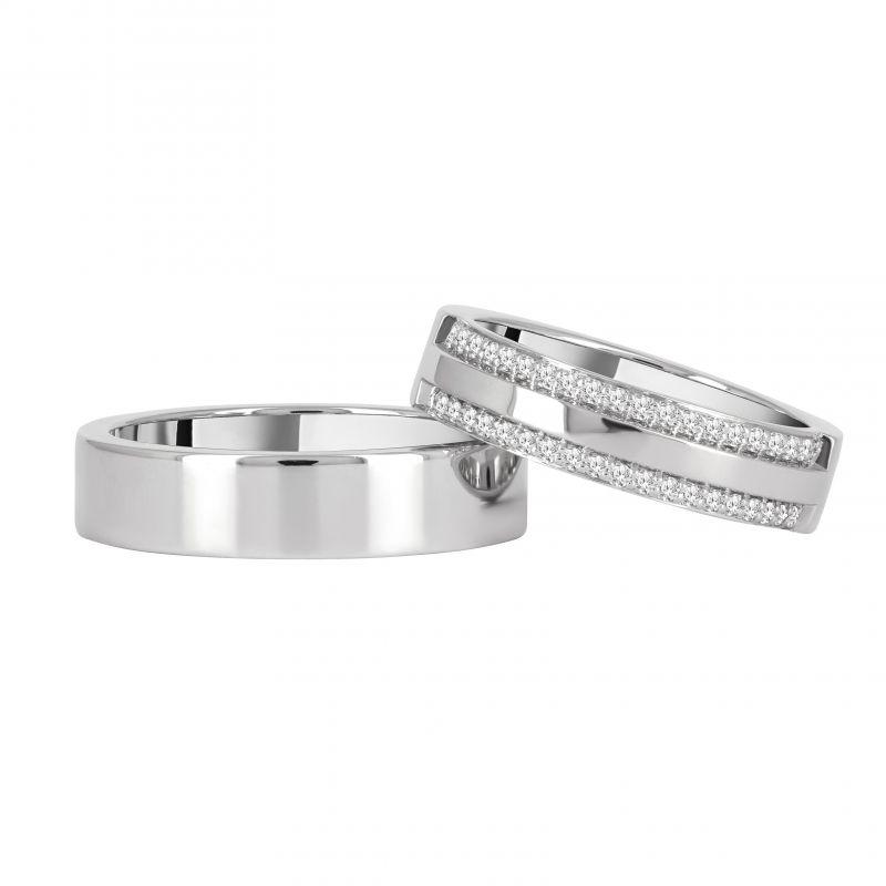 Обручальные кольца с бриллиантовой дорожкой