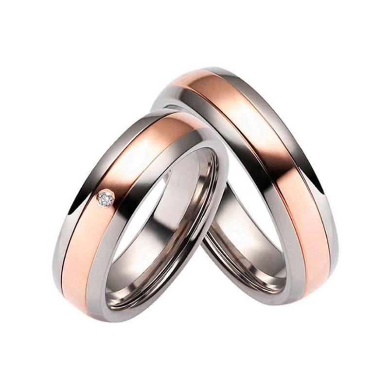 Обручальные классические кольца с бриллиантами из комбинированного золота