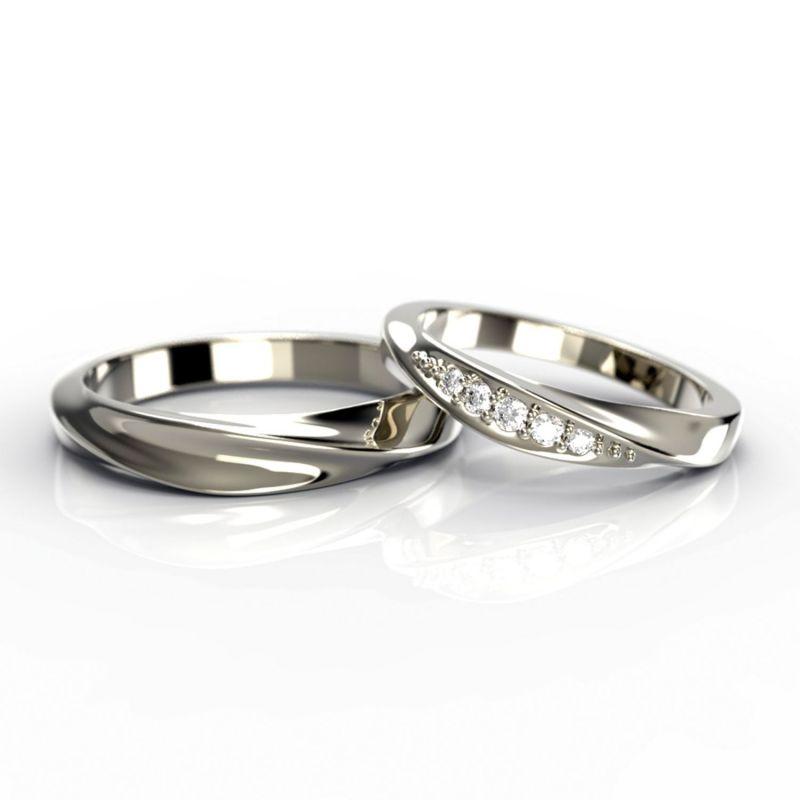 Тонкие парные обручальные кольца с бриллиантами