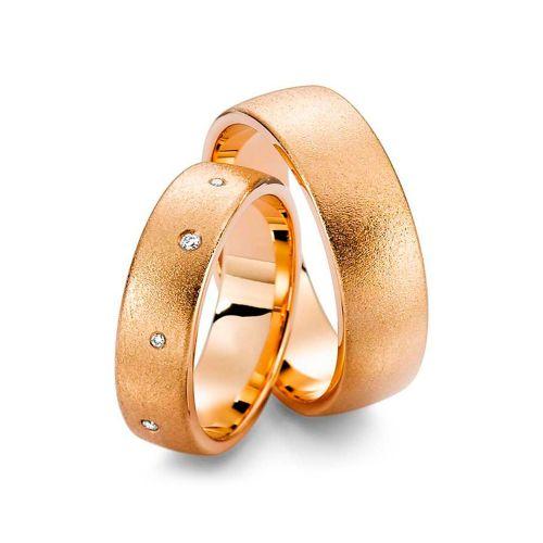 Обручальные кольца парные из красного золота с бриллиантами