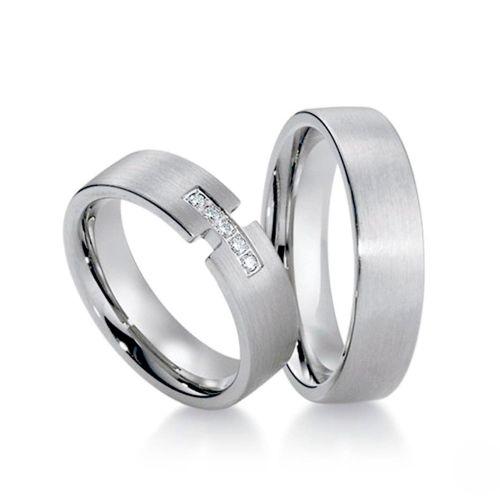 Обручальные кольца с бриллиантами из белого золота